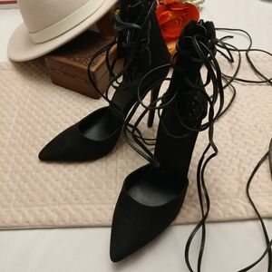 Nasty gal raft black faux leather lace up heels